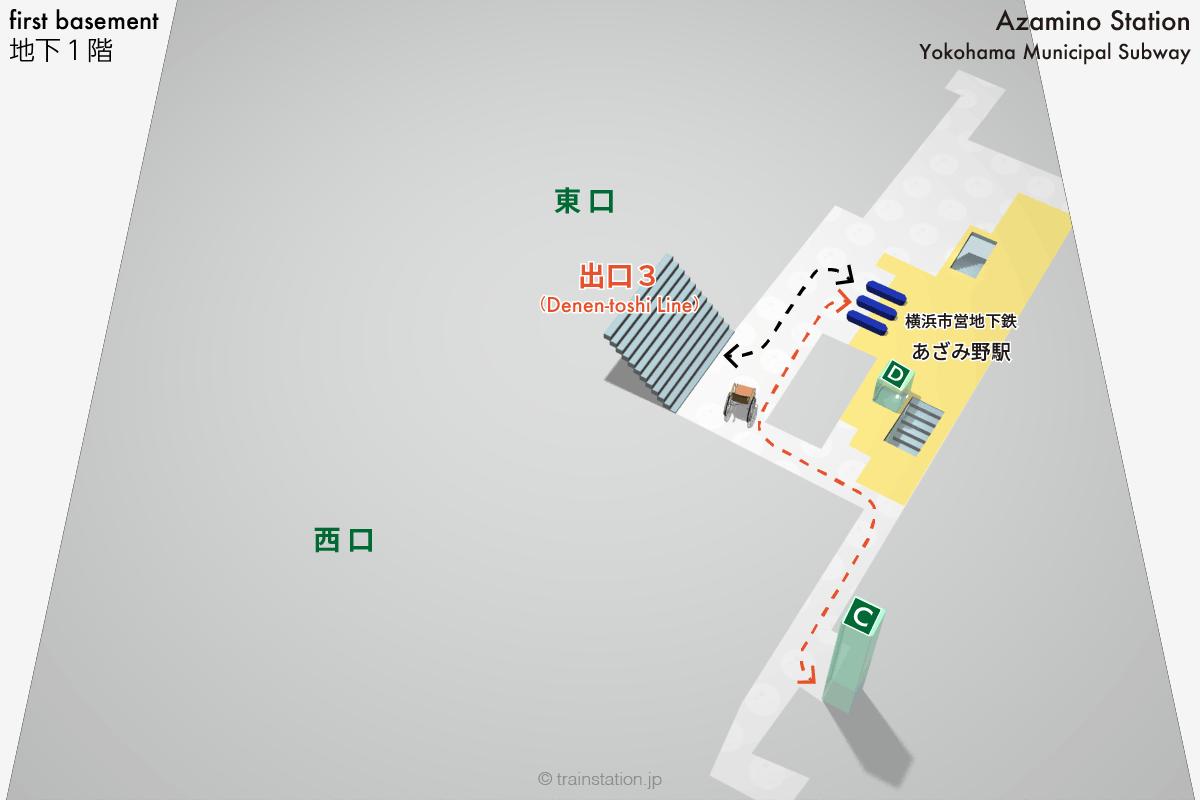 横浜市営地下鉄あざみ野駅 乗り換え構内図