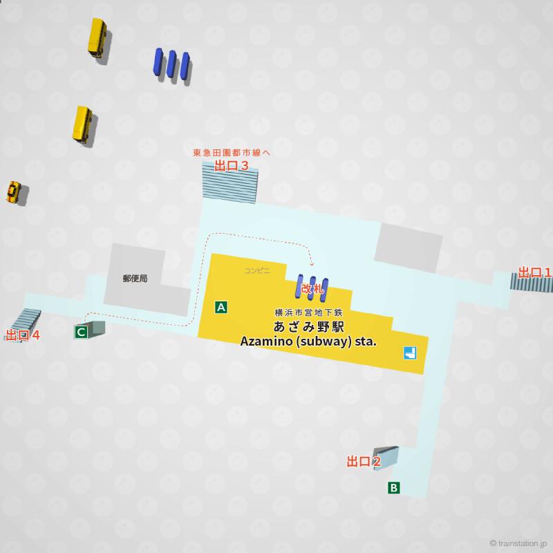 横浜市営地下鉄あざみ野駅の構内図