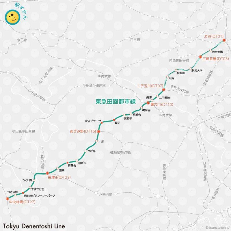 東急田園都市線の路線図
