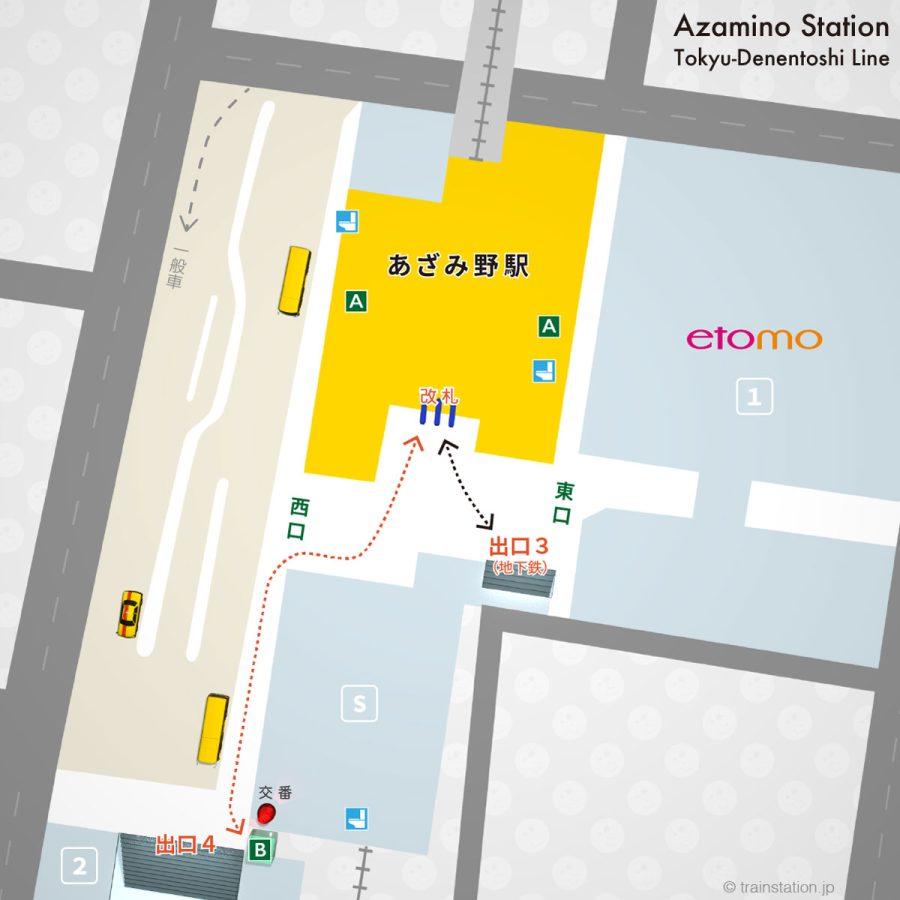 東急田園都市線 あざみ野駅構内図と周辺地図