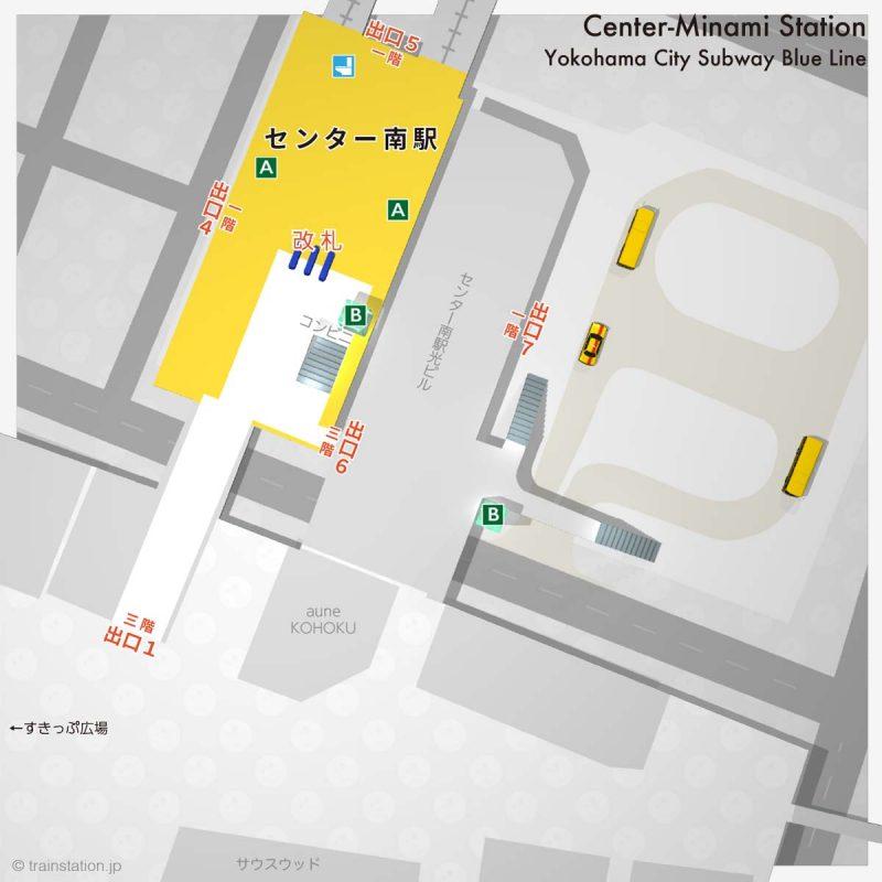 横浜市営地下鉄 センター南駅の構内図と周辺地図