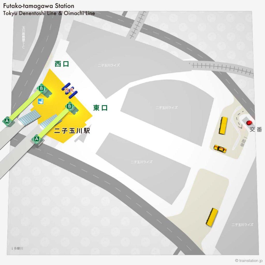 二子玉川駅の平面構内図