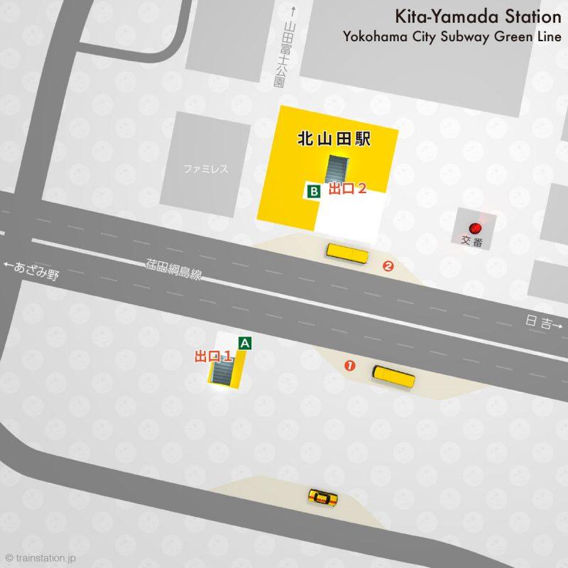 横浜市営地下鉄グリーンライン 北山田駅構内図と周辺地図