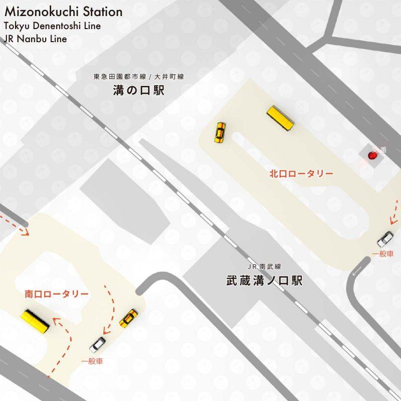 溝の口駅と武蔵溝ノ口駅ロータリーマップ