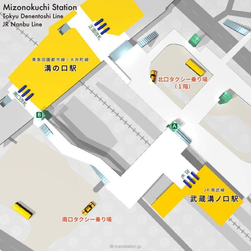 溝の口,武蔵溝ノ口駅タクシー乗り場マップ
