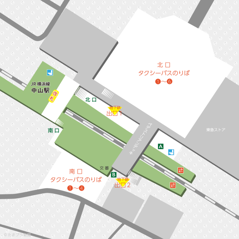 中山駅構内図 横浜市営地下鉄グリーンライン・JR横浜線