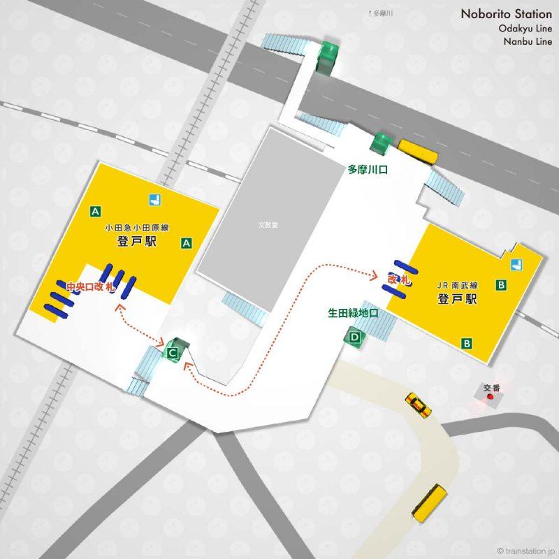 登戸駅の乗り換え構内図